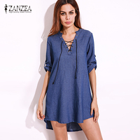 ZANZEA 2017 Womens Oversized Lace Up V Neck Denim Blue Asymmetrical Casual Mini Shirt Dress