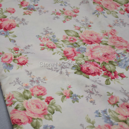 160CM Width Apricot Cotton Fabric Big Floral Rose Printed Cotton Fabric for telas patchwork