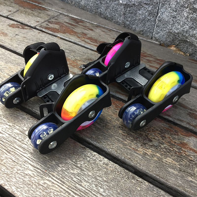 Children Sports 4 Wheels Pulley Lighted Flashing LED Wheels Heel Skate Rollers Skates Shoe Flashing Roller Skate Shoes Kids Gift
