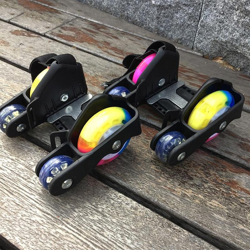 Children Sports 4 Wheels Pulley Lighted Flashing LED Wheels Heel Skate Rollers Skates Shoe Flashing Roller Skate Shoes Kids Gift
