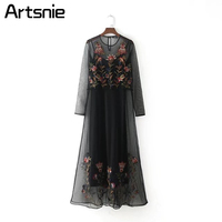 Black Vintage Embroidery See Through Maxi Dress Women Spring Summer Beach 2018 O Neck Sexy Party