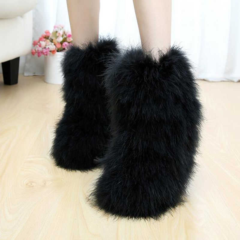 Womens Mid Calf Boots Ostrich Feather Fur Furry Winter Warm Snow Boots Outdoor