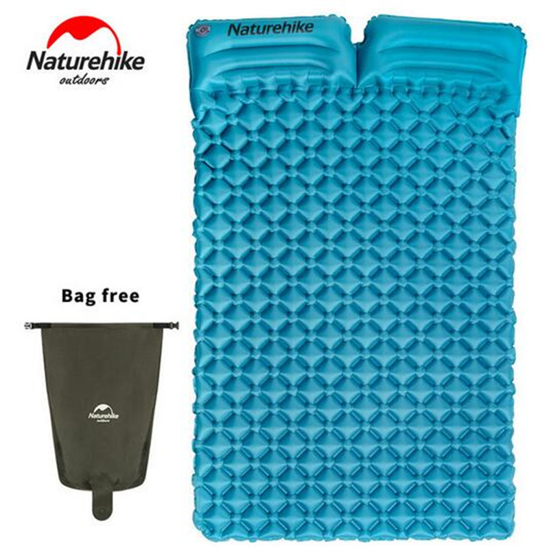 NatureHike Outdoor Inflatable Ultralight Double Sleeping Pad 2 Person Camping Pad Mat Tent Air Mattress With Pillows naturehike tent camping tent ultralight 1 2 3 person man 4 season double layers aluminum rod outdoor travel beach tent with mat