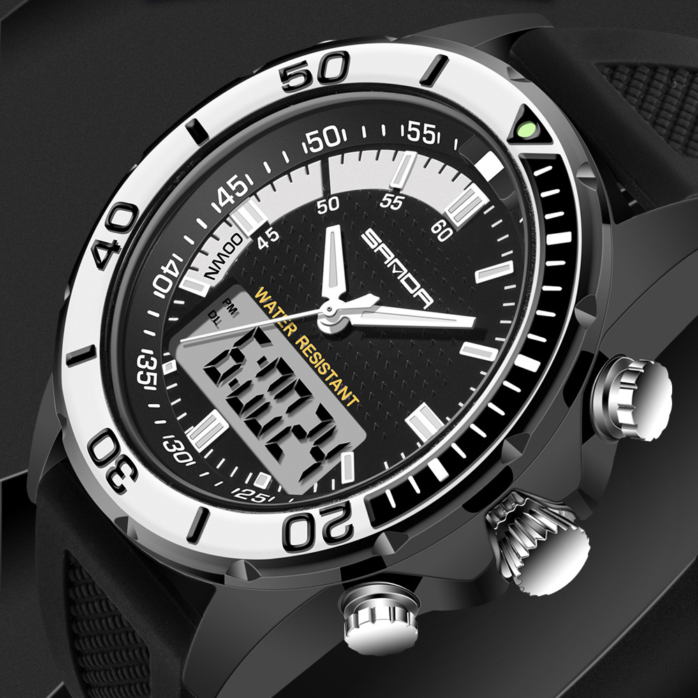 Hot Sale Men Watches Brand SANDA Sport Diving LED Display Wristwatch Fashion Casual Rubber Strap Watch Men Montre Homme Relogio strap