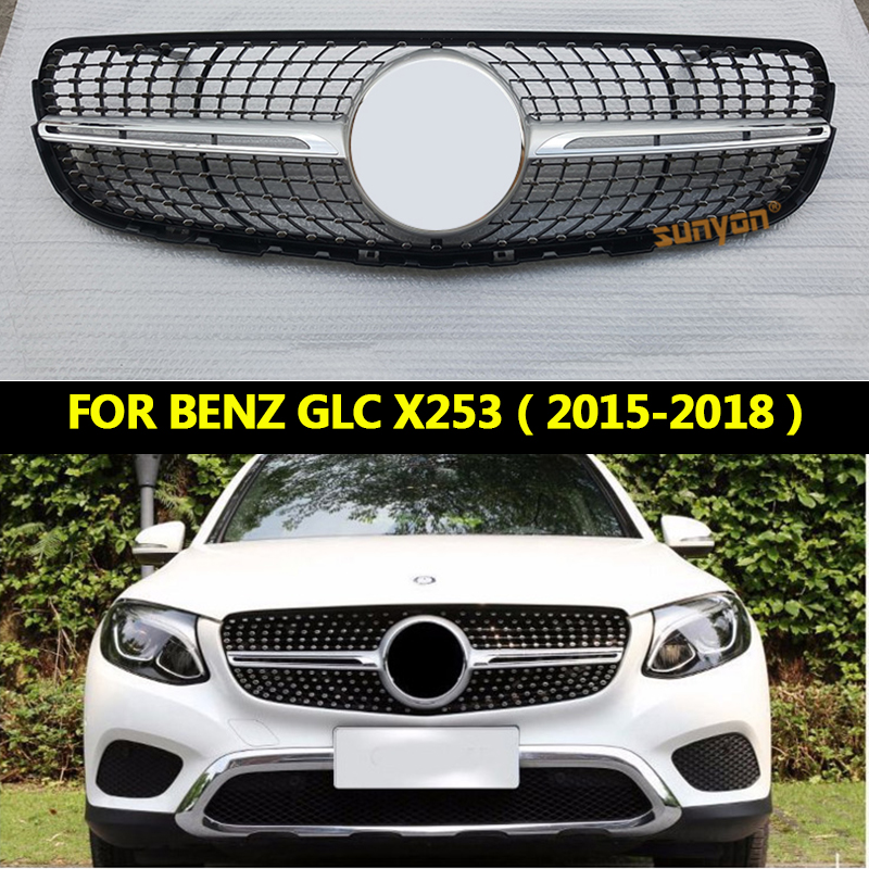 Suitable for Mercedes GLC Class W253 X253 GLC43 GLC200 GLC250 GLC300 GLC450 Diamond Grille Black or Silver without center logo