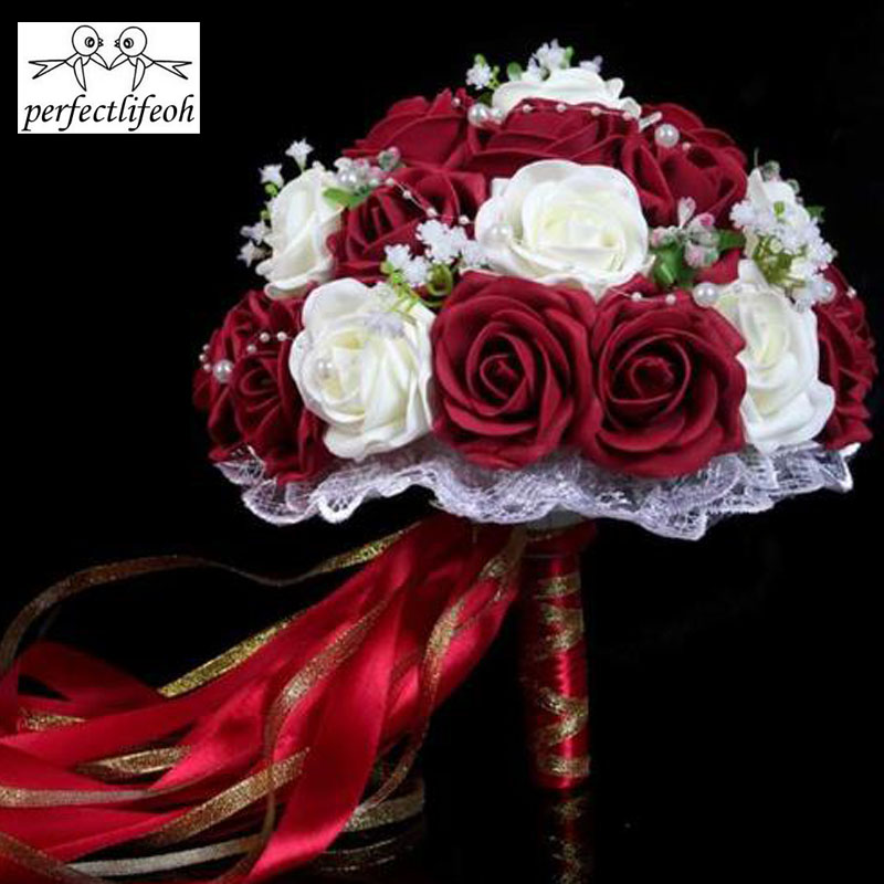 Perfectlifeoh Burgundy Wedding Bouquet Pink/Red/White/Burgundy Bridal Bridesmaid Flower Artificial Flower Rose Bouquet Bride