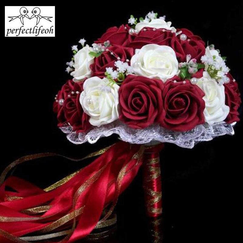 12 72 6 De Reduction Perfectlifeoh Bourgogne Bouquet De Mariage Rose Rouge Blanc Bourgogne Mariee Demoiselle D Honneur Fleur Artificielle Rose