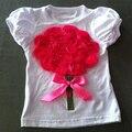 32 стили готов выбрать дети цветов футболки летом с коротким рукавом Футболки луки тройники девушка роза рубашки