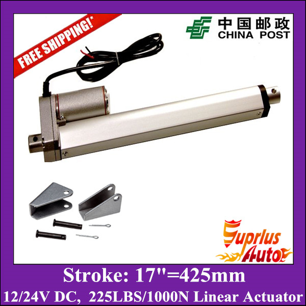 Free Shipping 17inch 425mm 12v linear actuatorr 1000N 100kgs 225lbs load linear actuators with mounting brackets