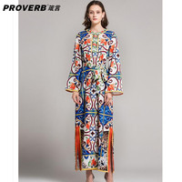 PROVERB Women Kaftan Dress Solid Print Round Neck Long Sleeves Cotton Polyester Party Maxi Dresses Split ends vestidos