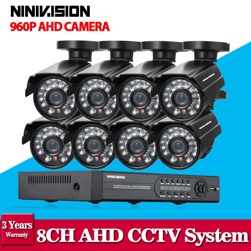 Home 8CH CCTV Security System 8 channel HDMI 1080P AHD DVR HD 960P 1.3MP outdoor bullet Camera kit Video Surveillance System white bullet hd camera 8pcs 900tvl security outdoor waterproof camera 8ch ahd 1080p 960h cctv system 3g wifi dvr kit hdmi 1080p
