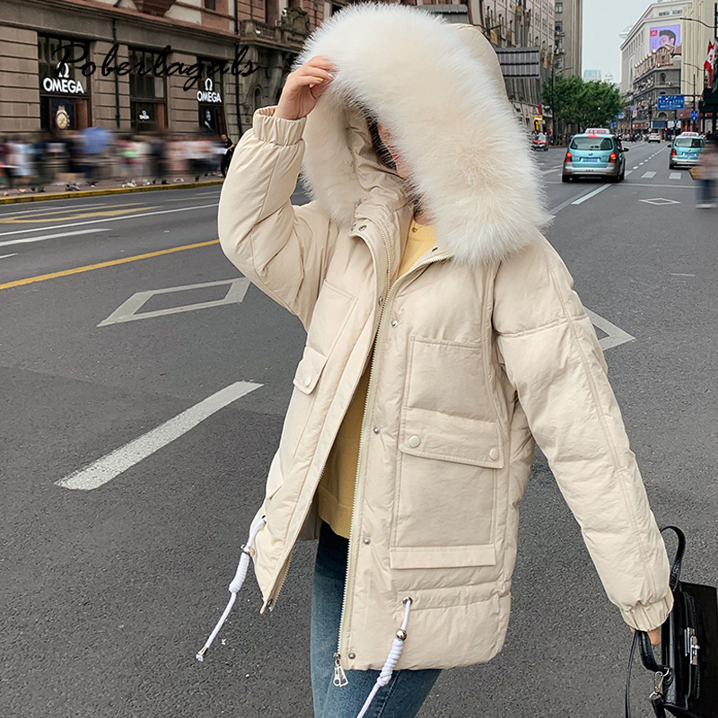 Winter jacket   parkas   2019 autumn women Korean cotton-padded jackets coat women's thick down big fur pocket warm bread coat   parka