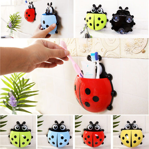 Lovely Ladybug Toothbrush Holder Ladybug Toothpaste Dispenser For Beauty Bathroom Decorations China Mainland