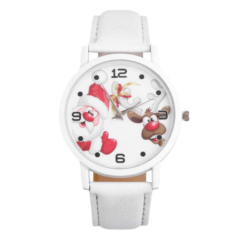 Casual Fashion Men Women Unisex Santa Claus ELK Pattern Dial Solid PU Leather Strap Wrist Watch For Lovers Relogio