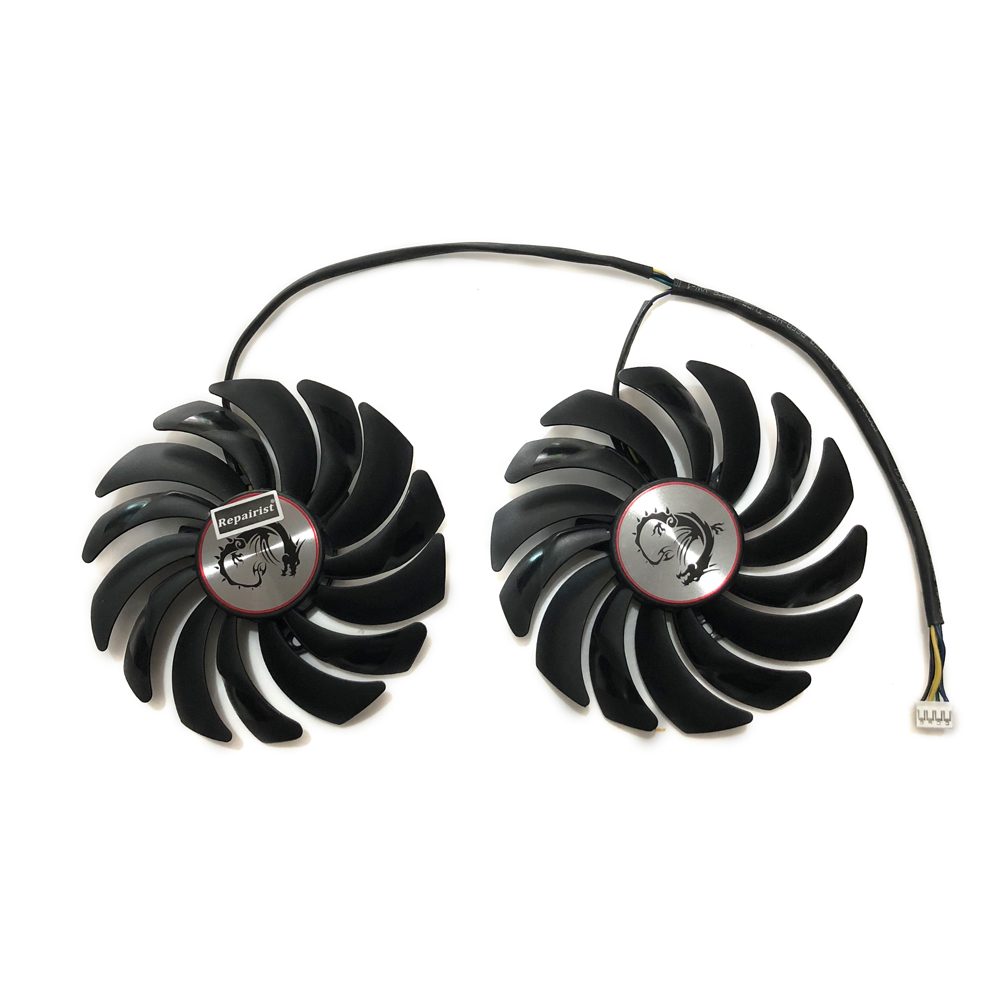Купить с кэшбэком 2pcs/lot cooler Fans RX580 RX480 Video Card cooling fan For Radeon RX 480 MSI RX 580 asic bitcoin mine GPU Graphics Card Cooling