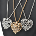 Newly Fashion Women Hollow Gold Silver Heart Crystal Rhinestone Pendant Long Chain Necklace Sweater Necklace Free shipping