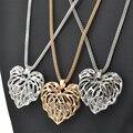 Recién Manera De Las Mujeres Hollow Oro Plata Corazón de Cristal Rhinestone Cadena Larga Pendiente Del Collar del Suéter Envío gratis