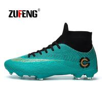 ZUFENG New Adults Men's Outdoor Soccer Cleats Shoes High Top TF/FG Football Boots Training Sports Sneakers Shoes Plus Size 35 45