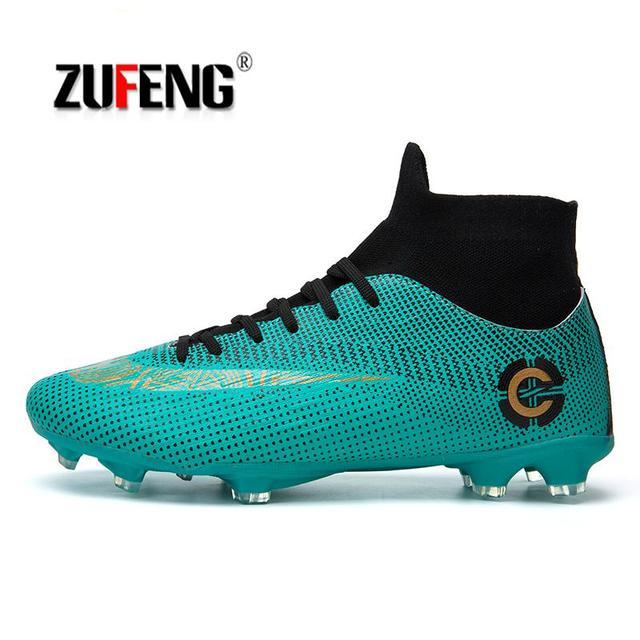 eb47fa6889 ZUFENG Novos Adultos dos homens de Futebol Ao Ar Livre Chuteiras Shoes High  Top TF