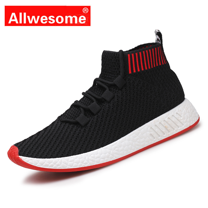 revendeur 10d55 56053 US $19.29 46% OFF|Allwesome Basket Sneakers Ultra Boost Men Knit Upper  Schuhe Breathable Human Race Black Shoes Male Casual Bambas Hombre-in Men's  ...