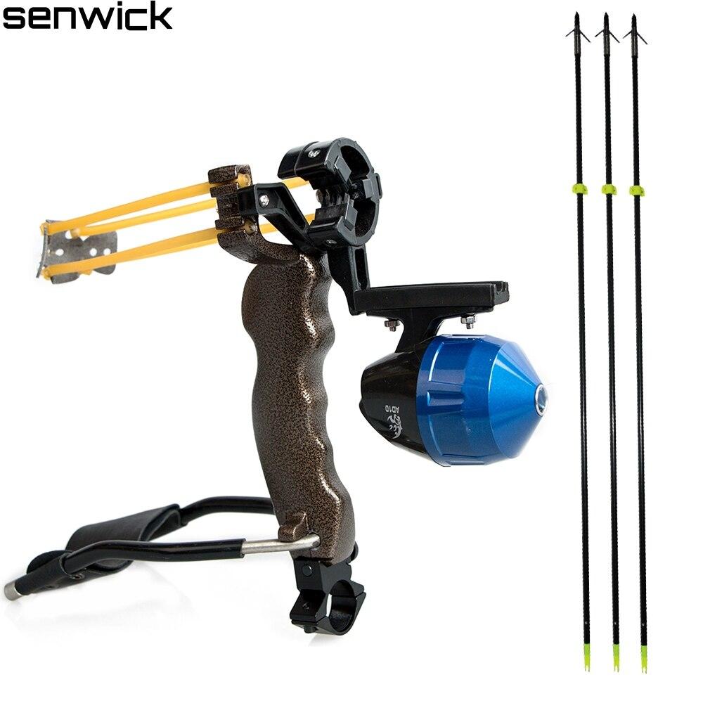 3pcs fishing arrows + slingshot hunting Fishing Target Shooting Slingshot with Folding Wrist Catapult Alloy Hunting Sling Shot