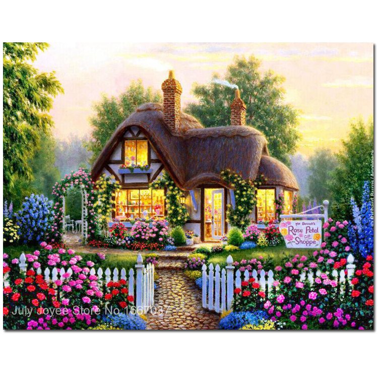 cottage in the fairy tales around with flowers diy rhinestones