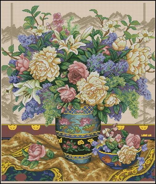 Top Quality Lovely Counted Cross Stitch Kit Oriental Splendor Splendour Flower Flowers In Vase Dim 35163