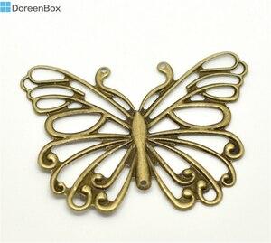 30 sztuk Doreen Box filigranowy motyl łączniki do dekoracyjnego papieru zawieszki stop Antique Bronze kolor dla DIY komponenty do wyrobu biżuterii 6.6x5cm