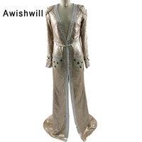 Vestido Longo De Festa Newest Deep V Neck With The Belt Beadings Sequins Formal Party Gowns