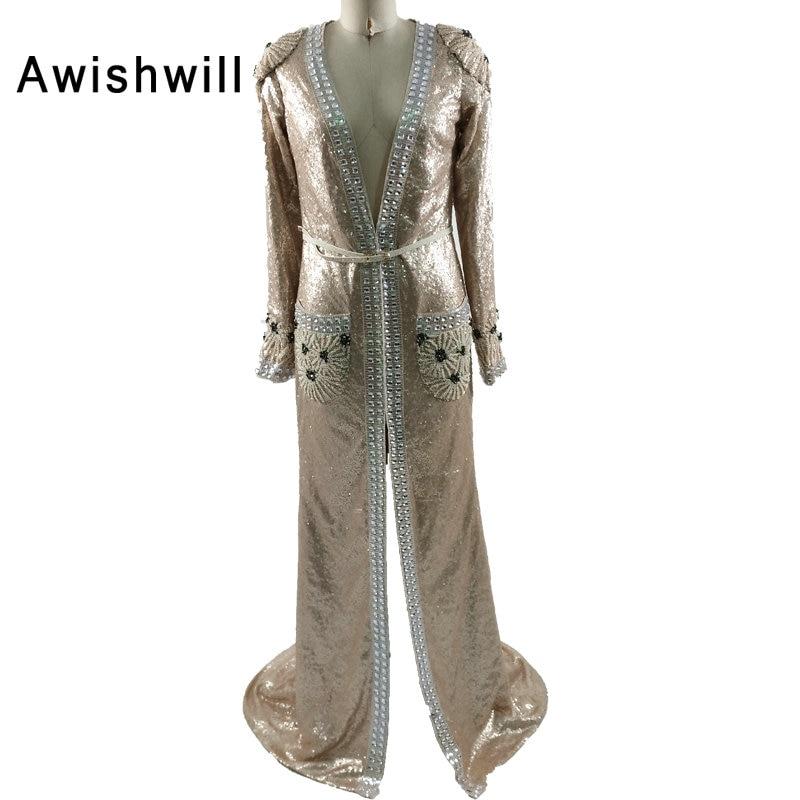 Vestido Longo De Festa Нові Глибокий V-подібний виріз з поясом бісером Блестки Формальні вечірні сукні Елегантні вечірні сукні довгий 2019