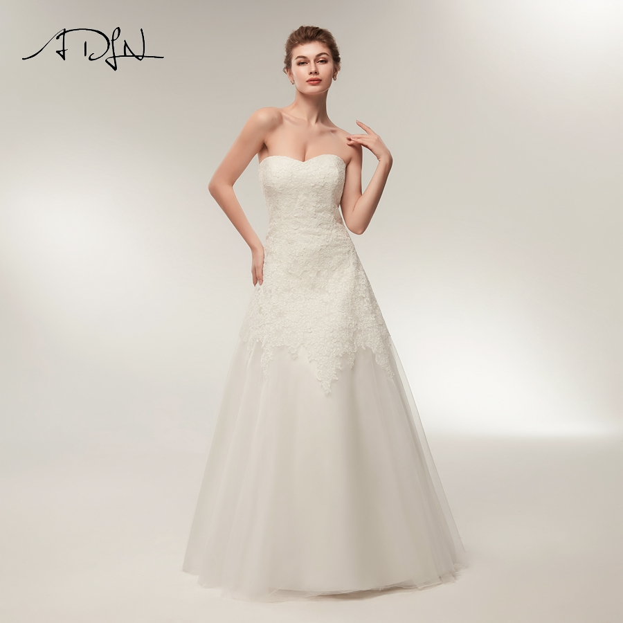 ADLN New Arrival Wedding Dresses Sweetheart Lace Applique Sleeveless A line Bridal Gowns Zipper Up Back