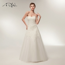 Купить с кэшбэком ADLN New Arrival Wedding Dresses Sweetheart Lace Applique Sleeveless A-line Bridal Gowns Zipper Up Back