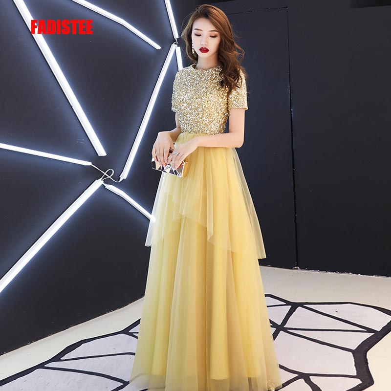 FADISTEE New arrival modern party   dress     evening     dresses   prom lace A-line gold O-neck bling sequins half sleeves 2019