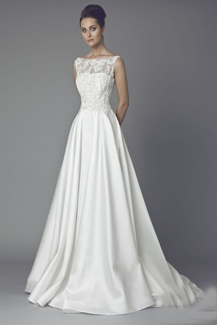Buy vintage a line lace wedding dress for Long straight wedding dresses