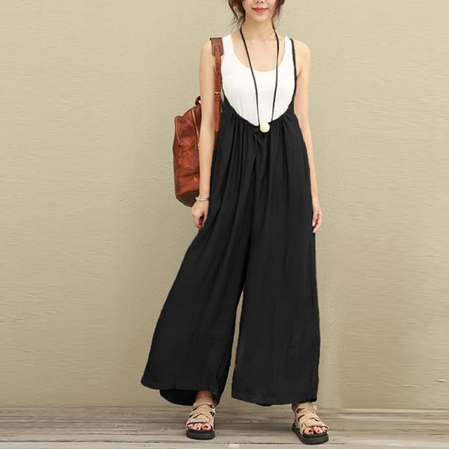 3f769a1cb55 2018 Fashion ZANZEA Women Overalls Cotton Linen Jumpsuit Plus Size S-5XL  Rompers Casual Dungarees Wide Leg Pants Loose Trousers