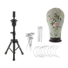 21inch Wig Making Cork Canvas Block Mannequin Head with Black Adjustable Stand Tripod Holder and C/I/T Pins Needles Set недорого