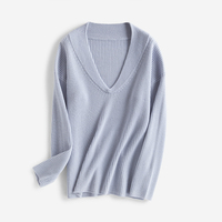 new fashion pure merino wool knit women v neck vertical striped loose pullover sweater one&over size