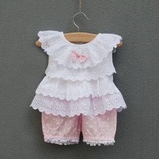 Новинка года, комплекты одежды для маленьких девочек детский летний костюм бант для новорожденного, жилет+ шорты для детей милый костюм в горошек для маленьких девочек - Цвет: Розовый