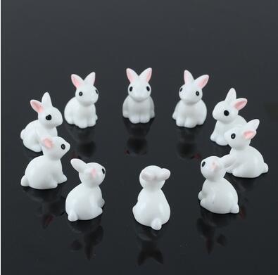 10 Pcs Mini Rabbit Miniature Resin Garden Fairy Ornament Flower Pot Dollhouse Plant Pot Home Figurine Animal Terrarium Decor SNO