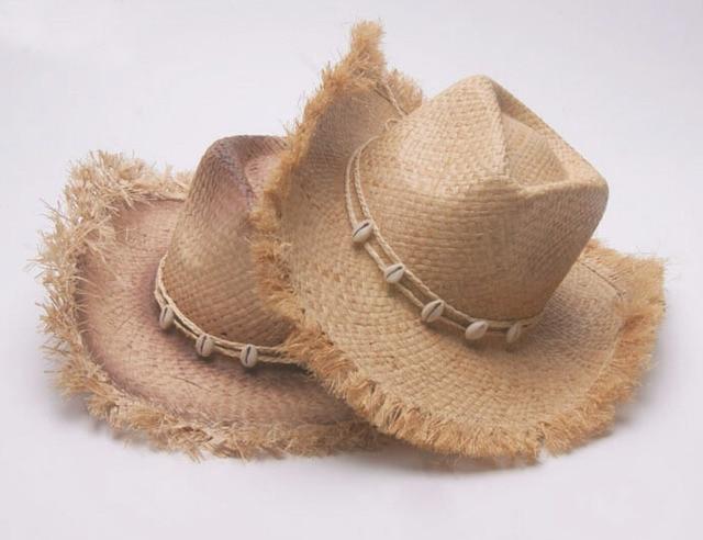 6pcs New Style Men Cowboys Straw Hats Best Mens Western Nature Raffia Straw  Hat Fashion Women a6d2c4438bb2