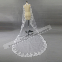 wuzhiyi Vestido Noiva Casamento Hot Sale 3 Meter Long Tulle Wedding Accesories Lace Veil Bridal Veils White Wedding Dresses Veil