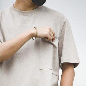 Image 4 - Мужской тяжелый хлопок свободный крой короткий рукав, круглый вырез карман Футболка