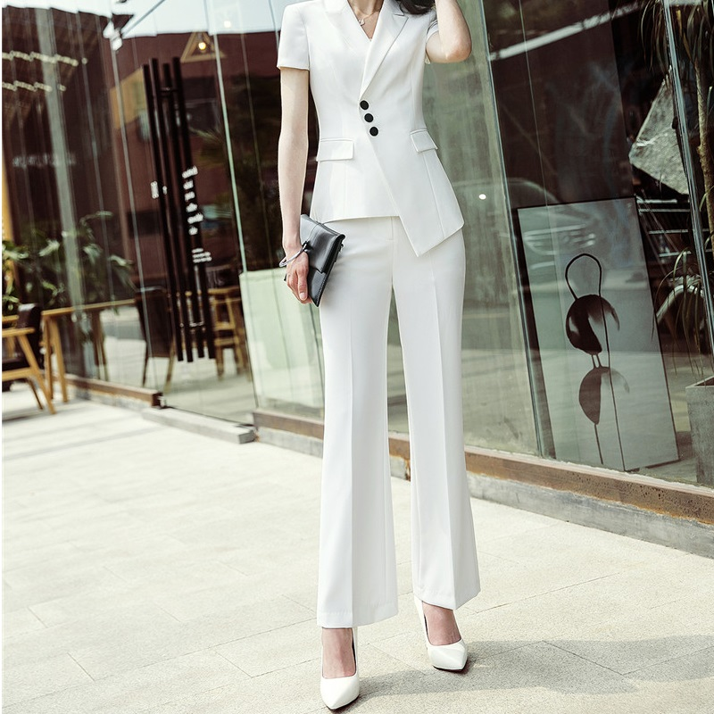 Fashion Women   Wide     Leg     Pants   OL Styles Fashion White Black Spring Autumn Office Ladies Slim Mid Waist Trousers Capris