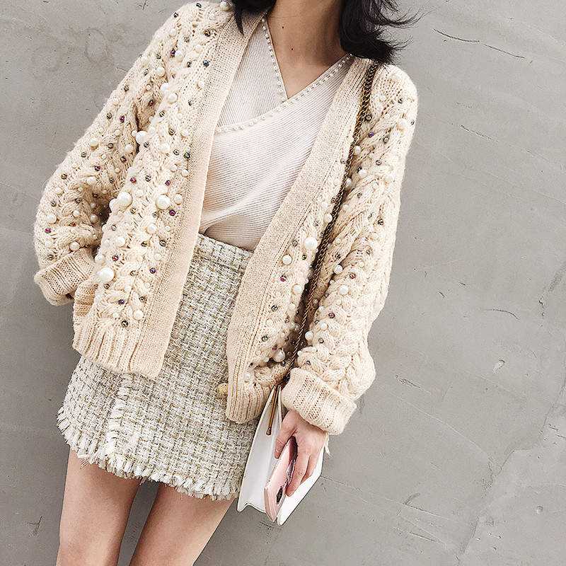 HANZANGL 2018 Winter women sweaters heavy work luxury handmade pearl bump twist braided sweater knitted cardigan female coat