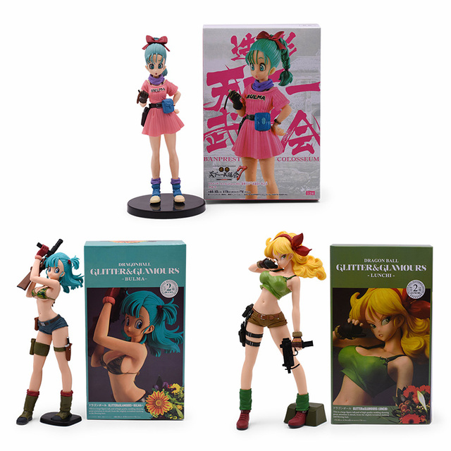 Figurine Dragon Ball Z 3 styles, paillettes et Glamours, déjeuner, Buruma Bulma, en PVC à collectionner, jouet pour enfant, cadeau
