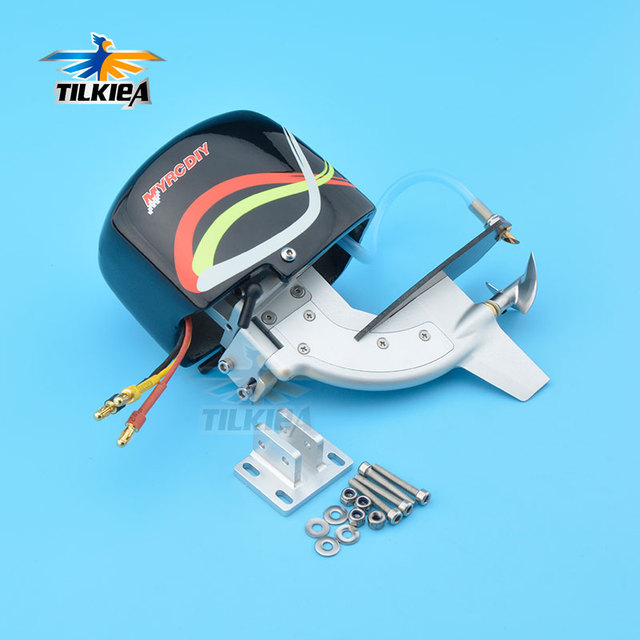 """CNC Rc Boat Tail Power Head Outboard Brushless Motor Prop Watercool Mount Steering Function For Electric Boat Length 24"""" to 30"""""""