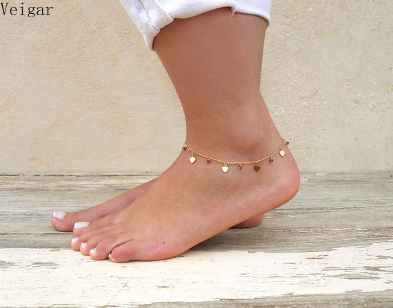Heart Anklet Bracelet Gold/Silver Plated Summer Foot Chain Body Jewelry Delicate Crystal Beaded Ankle Bracelets for Women 2018