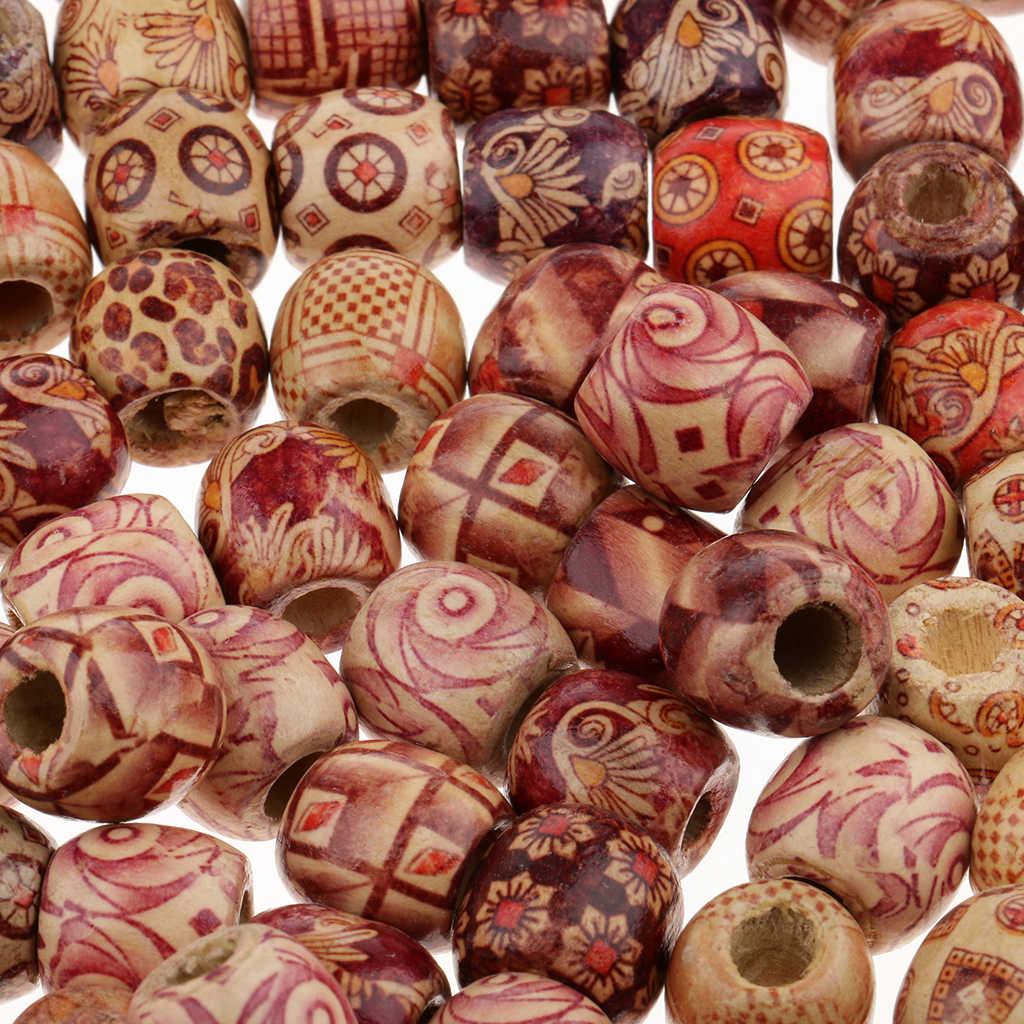 Pelo profesional de cierre de gancho de Crochet de aguja con 100 piezas de madera rastas puños temor gancho trenzado tejido cuentas herramienta de decoración de