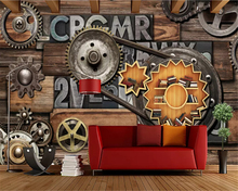 beibehang Industrial wind metal letter gear stereo nostalgic background custom fashion classic silky papel de parede wallpaper