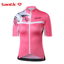 цена на Santic Women Cycling Short Jersey Pro Fit Ladies Road MTB Bike Bicycle Jersey Short Sleeve Summer Asian Size S-XXL L8C02130
